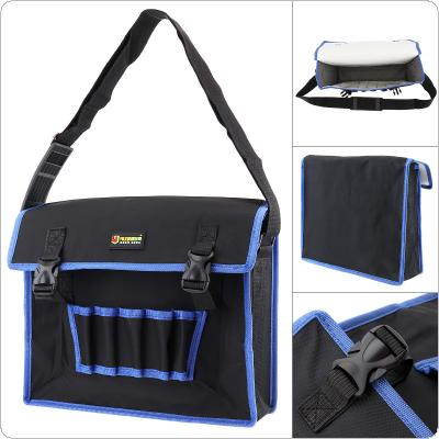 14 Inch 600D Oxford Cloth Waterproof Flip-type Single-shoulder Tool Bag with 5 Holes 2 Pockets and Adjustable Single Hanging Strap for Maintenance Tools
