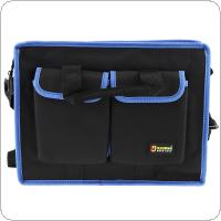 15.5 Inch Multifunctional 600D Oxford Cloth Waterproof Hand Shoulder Dual-purpose Tool Bag with 8 Pockets and Adjustable Single Hanging Strap for Maintenance To
