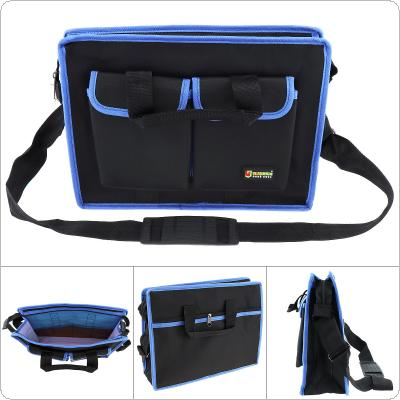 Multifunctional Durable 600D Oxford Cloth Waterproof Hand Shoulder Dual-purpose Tool Bag with 8 Pockets and Adjustable Single Hanging Strap for Maintenance Tool