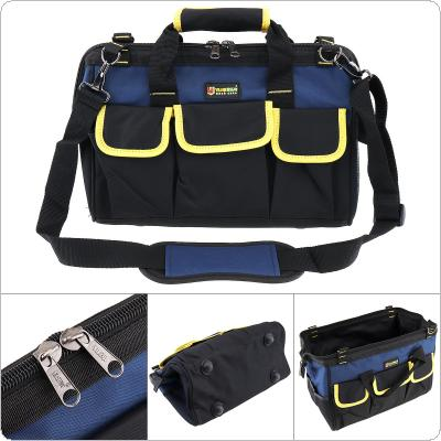 14 Inch Multifunctional Oxford Cloth Waterproof Hand Shoulder Dual-purpose Tool Bag with 21 Pockets and Adjustable Single Hanging Strap for Maintenance Tools