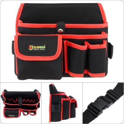 Multifunctional Durable Thickened Oxford Cloth Waterproof Tool Bag with 9 Holes 3 Pockets and 130cm Single Hanging Strap for Maintenance Tools