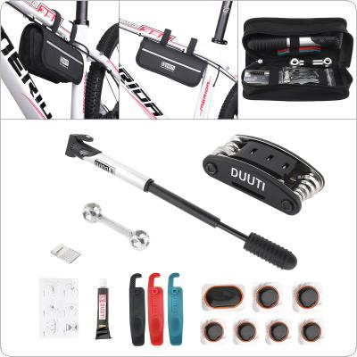 DUUTI  Multifunction Bicycle Repair Kits Bag MTB Road Bike Cycling Equipment with Pump Crowbar 16 in 1 Wrench Tools Sets