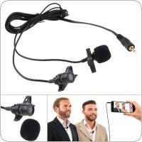 3.5MM Dual Microphone Suit Mini Headsets Microphone Mobile Phone DSLR Camera Clip-on Lapel Condenser Mic for Recording / Speaking / Lectures