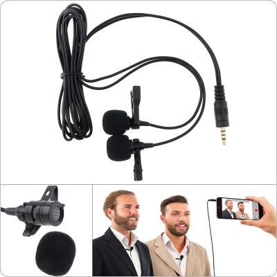 3.5MM Condenser Dual Microphone Mobile Phone DSLR Camera Clip-on Lapel Mini Microphone Headsets for Recording / Speaking / Lectures