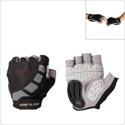 GUB Black Bicycle Anti-slip Breathable Lycra Half Finger Gloves with Shockproof Gel Padding for MTB Cycling