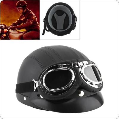 Unisex Retro Leather Motorcycle Helmets Scooter Open Face Half Motobike Helmet with Goggles Capacete for Motorcycle / Electric Vehicle