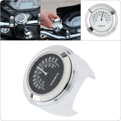 "Plated Chrome Handlebar Mount Temp Motorcycle Thermometer Clock Waterproof Thermometer for 7 / 8"" / 1"" Motorcycle Handlebar"