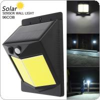 96 COB 400LM Light-controlled Human Body Sensing Wall Light LED Solar Motion Sensor Light Induction Lamp for Outdoor / Courtyard / Illuminating