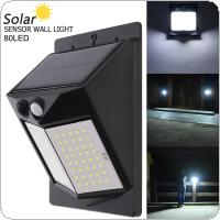 80 LED 500LM Light-controlled Human Body Sensing Wall Light LED Solar Motion Sensor Light Induction Lamp for Outdoor / Courtyard / Illuminating