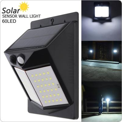 60 LED 450LM Light-controlled Human Body Sensing Wall Light LED Solar Motion Sensor Light Induction Lamp for Outdoor / Courtyard / Illuminating