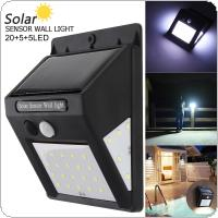 4W 3.7V 20+5+5 LED 3 Modes Human Body Sensing Wall Light Waterproof IP-4 Solar Sensor Corridor Light with Induction for Garden / Outdoor / Courtyard Lighting