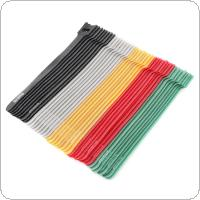 40 Pcs Mixed Color Reusable T-type Polyester Cable Ties Hook and Loop Cable Tie Wire Binding Wrap Straps with Eyelet Hole and Plastic Zip Tie for Cable