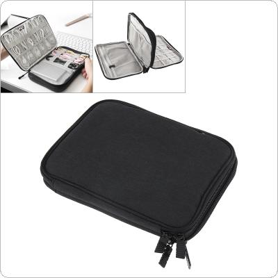 Multifunctional Double-layer Small Black Digital Cable Storage Bag Earphone Wire Bag Pen Power Bank Travel Kit Case Pouch for Storage