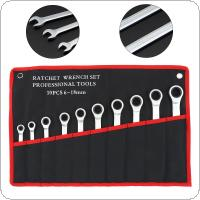 10pcs / Set Fixed Head Ratchet Wrench 6mm-18mm CRV  Ratchet Wrench Hardware Tools  with Cloth Bag for Home / Office / Construction Site