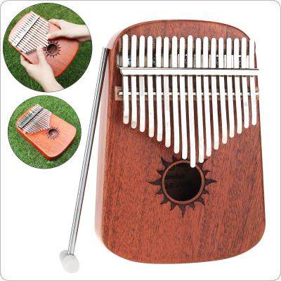 17 Key Thumb Piano Kalimba Whole Single Board Mahogany Sun Sound Hole Mbira with Tuning Hammer