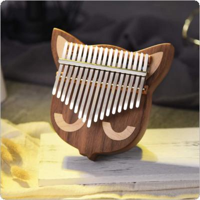 17 Key Thumb Piano Kalimba Whole Single Board Cat Face Black Walnut Mbira with Tuning Hammer