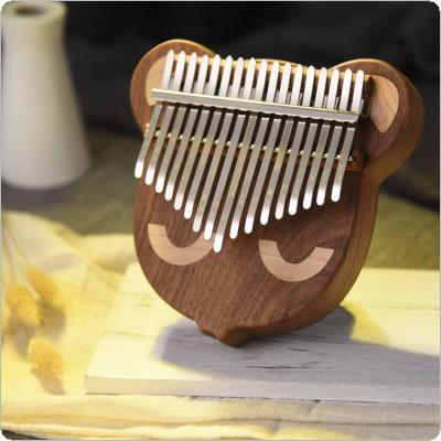 17 Key Thumb Piano Kalimba Whole Single Board Bear Face Black Walnut Mbira with Tuning Hammer