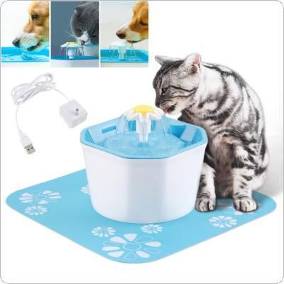 1.6L 5V USB Three Modes Electric Pet Cat Dog Water Fountain Dispenser with Silent Submersible Pump / Silicone Pad / Activated Carbon Filter