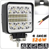Ultra Bright 4 Inch 126W Square Work Light Bar Modified Lamp for Off Road Car / SUV / ATV / Truck