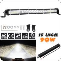 Ultra-thin Single Row 15 Inch 90W Work Light Bar LED Strip Light for Off Road Car / SUV / ATV / Truck