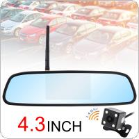 4.3 Inch Wireless Backup Camera Rear View Camera System HD TFT LCD Vehicle Rear View Mirror Monitor + Waterproof Night Vision Camera