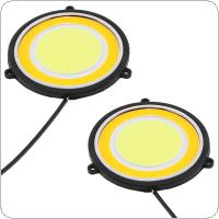 2pcs/pair LED Daytime Running Light Double Color Round Waterproof Auto Car DRL COB Driving Lamp Fog Lamp for Motor / ATV / SUV