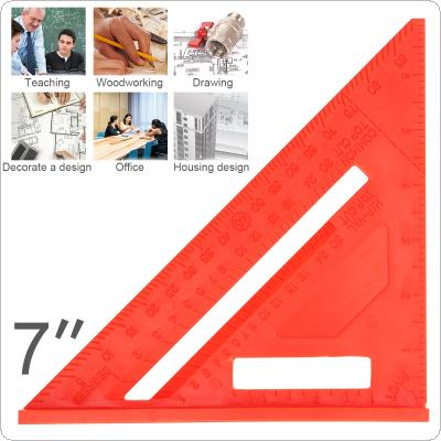 7 Inch Multi-function Red Plastics Right Angle Triangle Ruler with 0.1 Inch Accuracy and 45° Angle for Woodworking Measurement