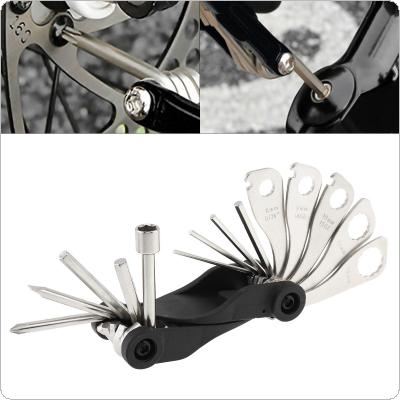 Fifteen in One Split Type Portable Multifunctional Bicycle Tool Kit with Offset Spanner and Wrenches