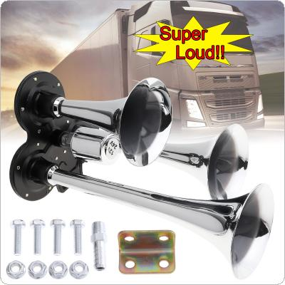 12V 178dB Super Loud Silver Three Trumpet Electronically Controlled Car Air Horn for Cars / Trucks / Boats / Motorcycles / Vehicles