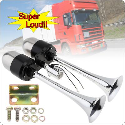 12V / 24V 178DB Super Loud Dual Trumpet Electronically Controlled Car Air Horn Extend the Sound Effect with Air Outlet Valve and Air Pump