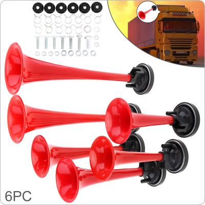 12V 178DB Super Loud Red Six Trumpet Electronically Controlled Car Air Horn with Compressor for Cars / Trucks / Boats / Motorcycles / Vehicles
