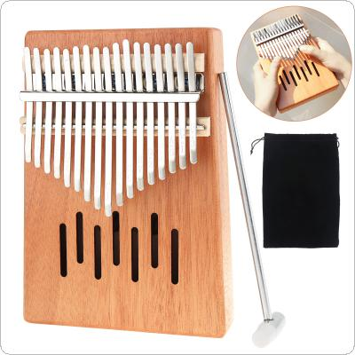 17 Key Kalimba Single Board Mahogany Waterfall Sound Hole Mbira Mini Keyboard Instrument