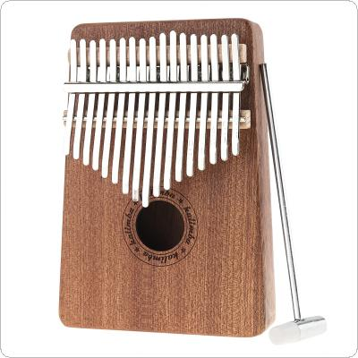 17 Key Kalimba Single Board Sapele Thumb Piano Mbira Mini Keyboard Instrument with Tuning Hammer
