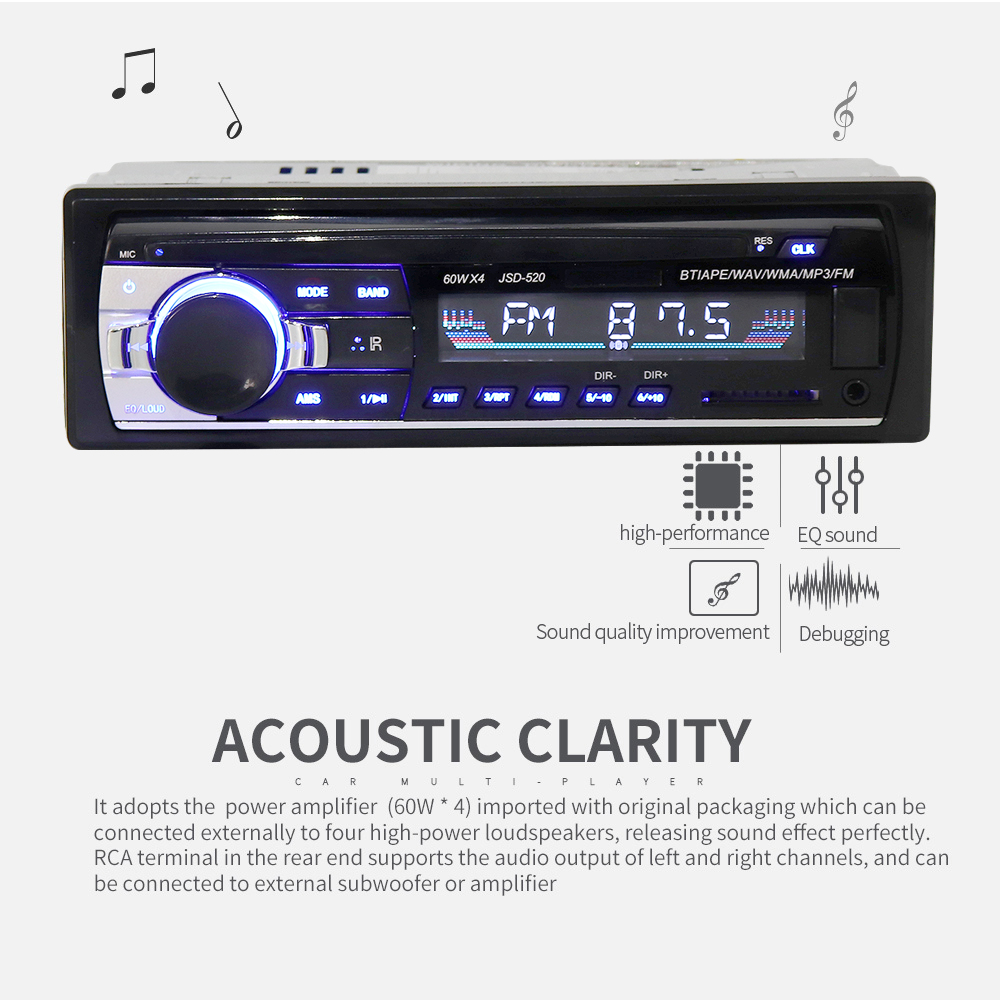 Universal JSD-520 In-Dash 12V Bluetooth Multifunctional Car Stereo Radio FM Aux Input MP3 Audio Player with USB /  SD / ISO Port