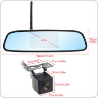4.3 Inch HD Wireless Car Rearview Mirror Monitor Auto Parking System with Rear View Reverse Camera Built-in Antenna