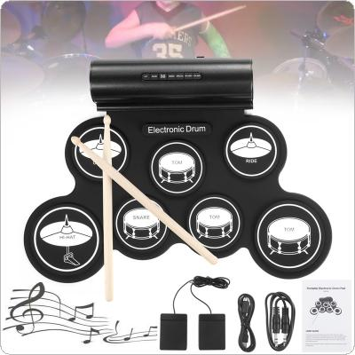 Portable Roll Up Electronic Drum Set 7 Silicon Pads Built-in Speakers Support USB MIDI with Drumsticks Sustain Pedal