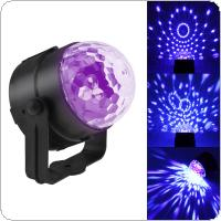 AC100 - 240V 3W Mini Crystal Magic Ball UV Purple Light Rotating Disco Ball Party Stage Light with Remote Control for KTV / Stage / Car / Home / DJ Bar