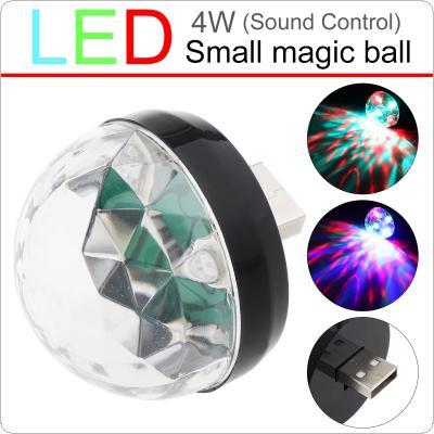 4W Mini USB LED Light Black Crystal Magic Ball RGB Colorful Stage Light Decoration Lamp for Home / Car / KTV / Stage