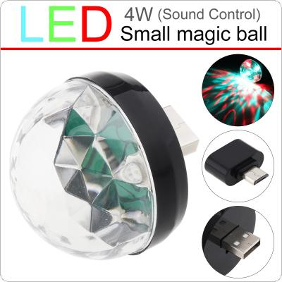 4W Mini USB LED Sound Active Light Crystal Magic Ball RGB Colorful Stage Light with Micro Interface Support Andriod Phone Decoration Lamp for Home / Car / KTV