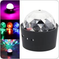 LED USB Charging Mini Voice Activated Crystal RGB Magic Ball Disco Lights Projector Effect Karaoke Decoration Light with Closed Light Acoustical Control