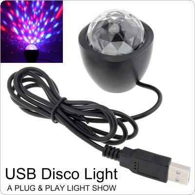 3W 5V USB Mini Voice Control DJ Lamp Small Crystal Magic Ball Stage Light Sound Actived Multicolor Magic Effect Lamp for Birthday Party / DJ Bar / Car