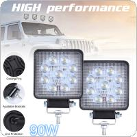 2pcs 90W 6000K 9000LM Square Waterproof LED Work Light for Off-Road Suv / Boat / 4X4 Jeep / Truck