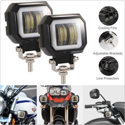 2pcs/set 40W 8000LM 3 Inch Waterproof Square LED Angel Eyes Light Bar Spot Light Motorcycle Offroad Car Boat Led Work Light