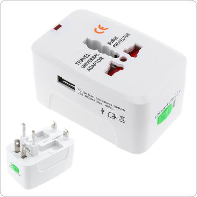 White Multi-purpose Global Universal Travel Adapter Plug USB Port AC Power Adaptor with AU US UK EU Plug Socket Converter