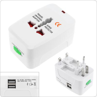 White Multi-purpose Global Universal Travel Adapter Plug Double USB Port AC Power Adaptor with AU US UK EU Plug Socket Converter