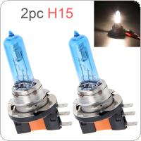 2pcs 12V H15 15 / 55W 6000K White Light Super Bright Car Halogen Lamp Auto Front Headlight Fog Bulb