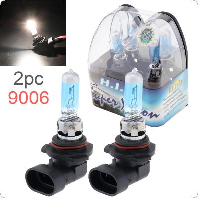 2pcs 12V 9006 55W 6000K White Light Super Bright Car Halogen Lamp Auto Front Headlight Fog Bulb