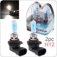 2pcs 12V H12 53W 6000K White Light Super Bright Car Halogen Lamp Auto Front Headlight Fog Bulb