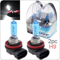 2pcs 12V H9 65W 6000K White Light Super Bright Car Halogen Lamp Auto Front Headlight Fog Bulb