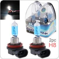 2pcs 12V H8 35W 6000K White Light Super Bright Car Halogen Lamp Auto Front Headlight Fog Bulb